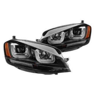 Volkswagen Golf VII 14-19 (Halogen model only) Projector Headlights - DRL LED - Black Stripe - Low Beam-H7(Not Included) ; High Beam-H1(Insluded) ; Signal-PY21W(Included) - Black