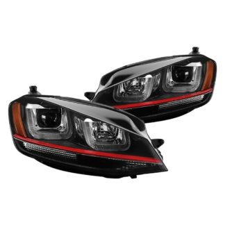 Volkswagen Golf VII 14-19 (Halogen model only) Projector Headlights - DRL LED - Red Stripe -  Low Beam-H7(Not Included) ; High Beam-H1(Insluded) ; Signal-PY21W(Included) - Black