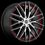 Spec-1 Racing Wheel   Model SP-17   Gloss Black Machined Red Line