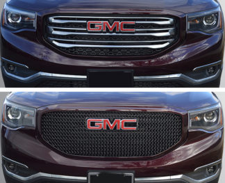 2017-2019 GMC Acadia SLT only (Must remove OEM chrome grille trim) 1PC Gloss Black Mesh Overlay Grille