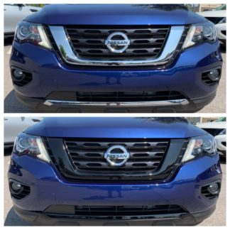 2017-2020 Nissan Pathfinder  2PC Black Top & Bottom Grille Overlay Grille
