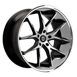 Lexani Wheel; R-TWELVE Gloss Black Machined Face Center / Stainless Steel Chrome Lip