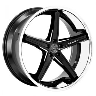 Lexani Wheel - FIORANO Gloss Black w/CNC Machined Accents / Stainless Steel Chrome Lip