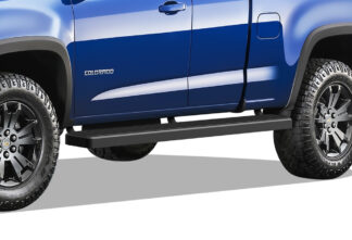iStep Wheel To Wheel 5 Inch SS Running Boards | 2015-2020 Chevy Colorado Extended Cab 2015-2020 GMC Canyon Extended Cab 6 ft Bed (Black) - Pair