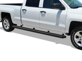 iStep Wheel To Wheel 5 Inch SS Running Boards | 2007-2018 Chevy/GMC Silverado/Sierra 1500 Crew Cab 6.5 ft Bed (Incl. 2019 Silverado 1500 LD & 2019 Sierra 1500 Limited ) 2007-2019 Chevy/GMC Silverado/Sierra 2500 HD/3500 HD Crew Cab 6.5 ft Bed (Incl. Diesel Models With DEF Tanks) Not For 07 Classic Model|6.5 ft Bed (Black) - Pair