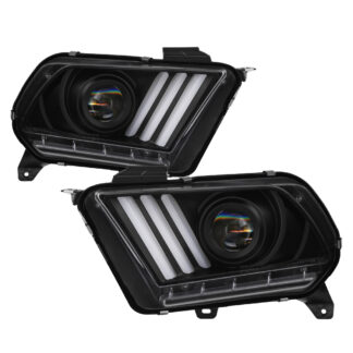 Ford Mustang 2013-2014 HID Model Only (Does Not Fit Halogen Model) Projector Headlights - Sequential Turn Signal - Black