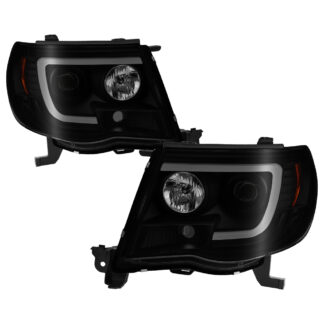 Toyota Tacoma 05-11 Version 2 Projector Headlights - Light Bar DRL - Low Beam-H1(Included) ; High Beam-H1(Included) ; Signal-4157NA(Not Included) - Black Smoke